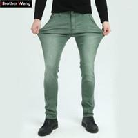 Brother Wang совершенно новые мужские эластичные джинсы моды тонкий тонкий джинсы джинсы повседневные брюки мужские зеленые черные Blue1