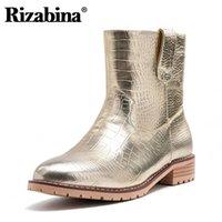 Rizabina Women Ankle Boots Leopard Print Fashion Winter Shoes Women Plush Fur Flats Boots Casual Ladies Footwear Size 33-46