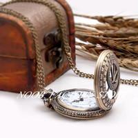 Bronce de acero inoxidable bisel nuevo grande antiguo antiguo chino tallado redondo bolsillo collar de joyería retro reloj de moda suéter cadena colgando