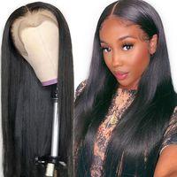 Dentelle Front Human Hair Perruques droites Preflinée Cheveux bébé Cheveux de bébé 13x4 Brésilien Perruques longues Perruques de cheveux humains pour femmes noires