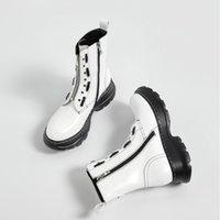 Çizmeler kalın taban düz platformu motosiklet parlak siyah deri ayak bileği uzun botas de mujer