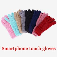 CALIENTE invierno unisex Touch guantes de la pantalla del teléfono inteligente mensajes de texto de invierno de punto negro mens de las señoras guantes táctiles guantes mágicos mittensThicken