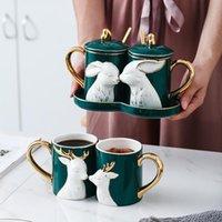 Tassen 2 teile / satz Nordic Becher Paar Paar Tasse Kreative Löffel mit Deckel Keramik Liebe Tablett Valentinstag Hochzeit Geschenkbox Milch