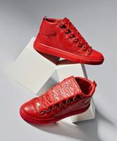 [Caja Original] Arena zapatillas de deporte de Kanye West arrugado ocasionales de cuero de alta Pisos Top deportes al aire libre Formadores EU35-47 famoso diseñador de los hombres