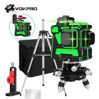 12 linhas 3D Green Laser Nível Auto-Nivelamento de 360 graus Horizontal e Vertical Linhas Cruzinhas Verde Linha Laser com bateria Tripé