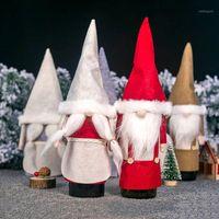 Weihnachten Schwedische Gnome Rotwein Flaschenmütze Mädchen Santa Claus Hut Abdeckung Fachlose Puppe Home Decoration1