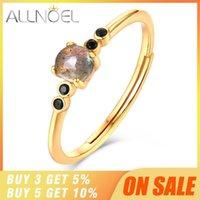Anéis de cluster allnoel 925 esterlina prata empilhável para mulheres labradorite gemstone ouro luxo fine jewellry casamento jóias de halloween1