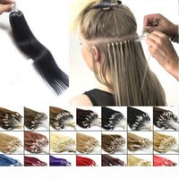 Loop Micro Ring Haarverlängerung 100% Remy Human Hair Extension Nano Ring14-24inch Natürliche Schwarz Braun Blondine 10 Farben 100s Packung günstig