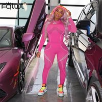 FQLWL Streetwear 2 Two Piece Set Mulheres rosa Outfits Sleve longo Camiseta resultados: Leggings Bodycon Treino Feminino Senhoras 201007
