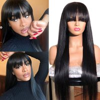 Parrucche brasiliane dei capelli umani diritta con le frange Remy Full Machine realizzate le parrucche dei capelli umani per le donne nere 8-28 pollici Cheap Parrucca umana