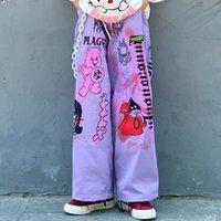 HOUZHOU Punk oversize Anime Pantaloni Donna estetici a gamba larga Pantaloni Hip Hop Streetwear Moda Stampa allentato Palazzo pantaloni 201109