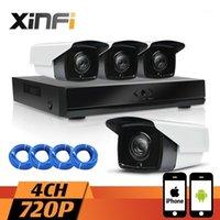 Xinfi 4ch 1.0MP Sistema CCTV 1080P NVR Registratore di rete Registratore 720P HD Home Security Sistema per fotocamera per esterni CCTV Kit1