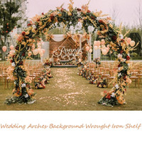 Wrought White Gold Round Ring Shape Metal Iron Arch Wedding Backdrop Stand Party Decor Artificial Flower Balloon Archway