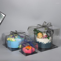 1 Piece Clear Cake Box PVC Packing Transparent Baking Pastry...