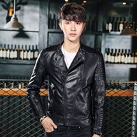 warm PU leather motorcycle jacket leather coat Korean slim m...