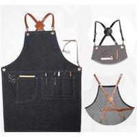 Apron Tools Kitchen, Dining Bar Home & Gardenaprons Denim Leather Simple Uniform Unisex Adult Jeans Aprons For Woman Men Male Lady Kitchen B