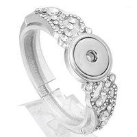 Pulseras de encanto Pulsera a presión DIY Charms Crystal Bangles con Flow Fit 18mm Botones para mujeres Joyería ZE3731
