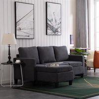 Nieuw ontwerp dubbele chaise longue comfortabele combinatie sofa donkergrijs hoogwaardig materiaal (194 x 126 x 89) cm