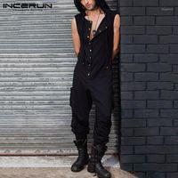 Мужские брюки досуг сплошные цветные комбинезоны без рукавов O шеи inkerun мужские с капюшоном тела мужчина сексуальные кнопки комбинезон стритюна 5xl71