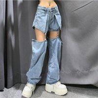 Meqeiss Yeni Sokak Kot Kadınlar Splice Geniş Bacak Pantolon Hip-Hop Pamuk Gevşek Retro Zincir Çıkarılabilir Serin Kızlar Bayan Denim Pantolon W0104