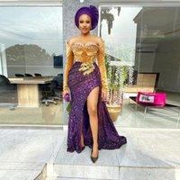 Aso Ebi Dreses Party Evening Gowns Off Shoulder Beads Lace Appliques Side Split Mermaid Prom Dres Long Sleeve vestidos de fiesta