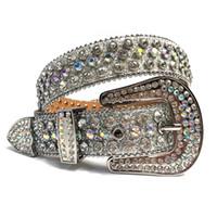 Rhinestones occidental Cinturón Vaquera Cowboy Bling Bling Crystal Tachuelas Cinturón de cuero Hebilla extraíble para hombres Mujeres