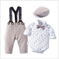 Baby Boys Джентльменские комплекты одежды Детский костюм Rompers + Bowtie + Bowtie + брюки подвеска + шляпы 4 шт. Установить малыш боди младенческая одежда