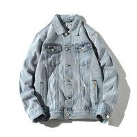 남성용 재킷 데님 남성 구멍 레트로 모터 스타일 기본 코트 스트리트웨어 힙합 폭격기 재킷 카우보이 망 코트