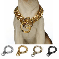 개 금속 칼라 P 체인 골드 스테인레스 스틸 애완 동물 개 체인 칼라 금속 목걸이 19mm 너비 강한 대형 개 Collars Pitdog 201030