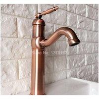 Bec pivotant eau robinet d'eau antique rouge cuivre simple poignée mono-trou cuisine lavabo robinet de salle de bain bassin jllmhl insyl