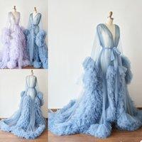 Peignoir pour femme ciel bleu dentelle tulle pleine longueur lingerie chemise de nuit pyjamas vêtements de nuit femmes robes de luxe femme maison de nuit