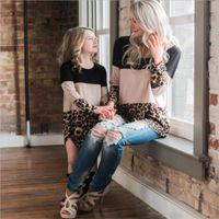 Liligirl madre hija vestidos 2020 otoño nuevo mami y me visten para la ropa de combate de la familia con encaje leopardo mamá vestido de niña LJ201111