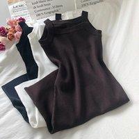 Harajuku старинные осенние платья корейская версия простого чистого цвета высокая талия на линии вязаное платье женское подвеска