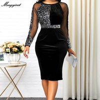 Summer Autumn Dress Women Casual Plus Size Mesh Long Sleeve Office Lady Sequined Vintage Sexy Party Dresses Bodycon Dress 200928
