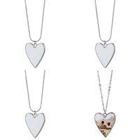 Edelstahl Kette Sublimation Leere Legierung Liebe Herz Anhänger Charme Mode Frauen Dame Halsketten Valentines Romantisch 5 5MO N2