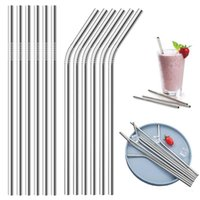 Bent and Straight Stainless Steel Straw Steel Drinking Straws Reusable ECO Metal Drinking Straw Bar Drinks Party Accessories