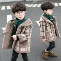 New Childrens lã Coats For Boys Autumn Boy Inverno Quente Plaid Jackets longa com capuz Coats lã grossa Casacos Crianças Boy Overcoat