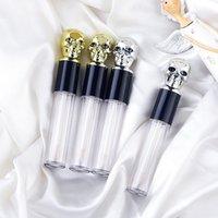 5 мл пустой прозрачный глянцевые трубки для губ Контейнеры череп крышка кисти наконечник аппликатор палочки пополняемой бальзама для губ для макияжа DIY