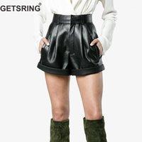 Подгоняющие женщины шорты PU кожаные женские шорты с твердой высокой талией все матч черные короткие брюки мода брюки досуга 20201