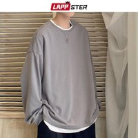 LAPPSTER Men Oversized Casual Solid Graphic Tshirts Long Sle...