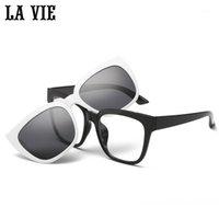 Солнцезащитные очки La Vie Magnet Clip на съемные поляризованные для мужчин очки для глаз очки кадр кошек женщин Gafas deol 15281