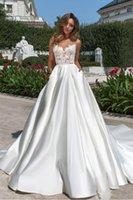 2020 dentelle satin une ligne robes de mariée robes de mariée jardin bohème robe de mariée avec poches pure cou appliquant