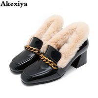 Cute Metal Woman single Shoes Fashion Square Heel Female Sne...