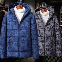 Men's Down Parkas 2021 Moda inverno cotone-imbottito vestiti sottile calda cammuffamento giacca con cappuccio in cima tuta sportiva