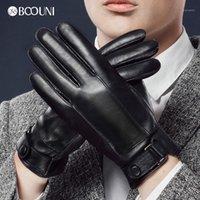 خمسة أصابع قفازات booni جلد طبيعي الرجال نمط الإصبع الدافئة المخملية الأزياء الاتجاه الشتاء جلد الغنم قفاز للقيادة NM9381