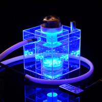 Shisha Device Desktop Hookah Tea Set Stijl DAB RUG Controleerbare Acryl LED Licht Glazen Bongs Olie Brander Glas Waterleidingen Olie Rigs Roken