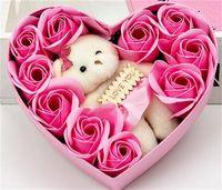 Presentes do Dia dos Namorados Recipientes Flores Artificiais Flores Caixa de Presente Bear Rose Bear Coração Vermelho Organizadores Marry Bow Decorações Do Casamento 7 8RZ L2