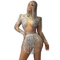 Щепка кисточкой Сексуальная женщина Bodysuit Певица Танцор Костюм Ночной клуб Бар Show DJ Performance Star трико Birthday Party Комбинезон