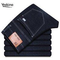 Vrokino Marca 2019 New Men's Jeans Lazer Moda Negócios Força Elástica Calças de Jeans Reta Calças Clássicas Masculinas Blue Black 441