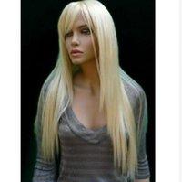 Nouvelle Arrivée Long Silky Broyon Blanchiment Blonde Véritable Cheveux Synthétiques 28 pouces Perruque